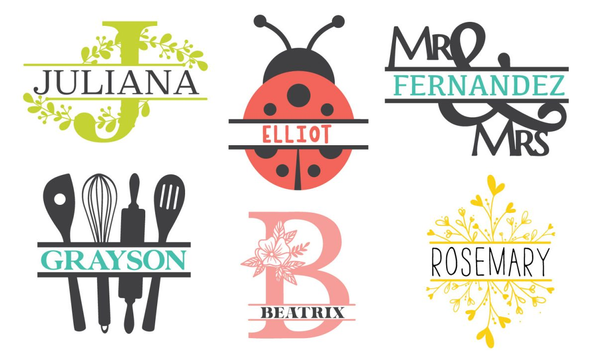 Six split monogram styles