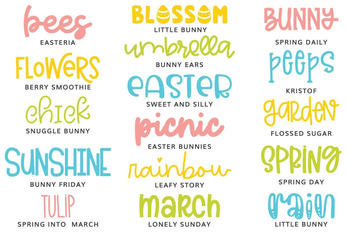 All of the fonts featured in this post in Easter colors