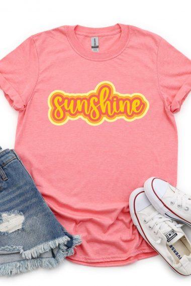 Sunshine image on pink shirt