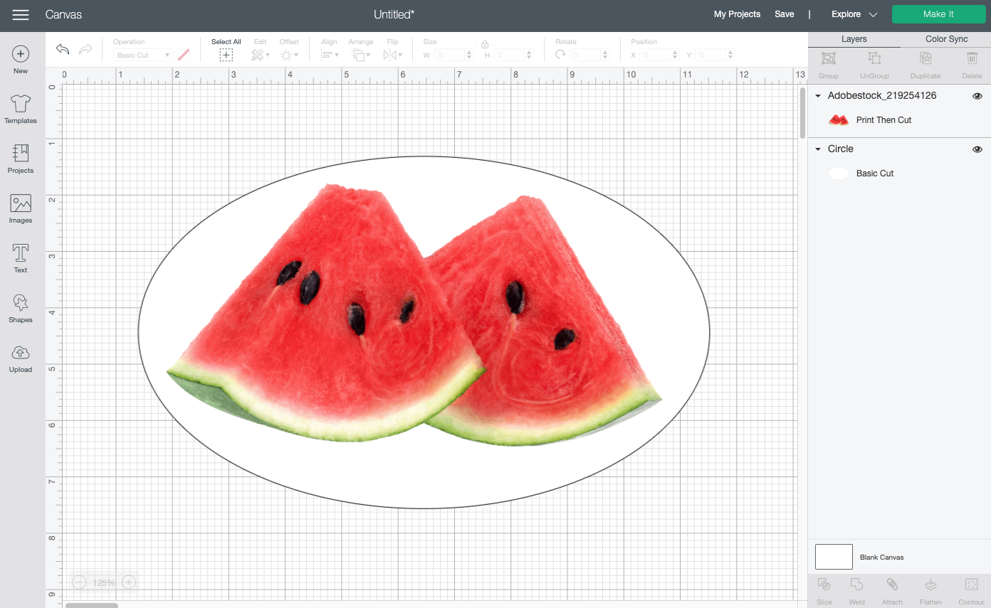 Cricut Design Space: Watermelon slices on top of white oval