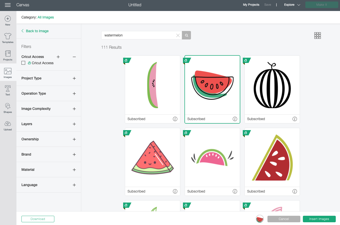Cricut Design Space: watermelon search