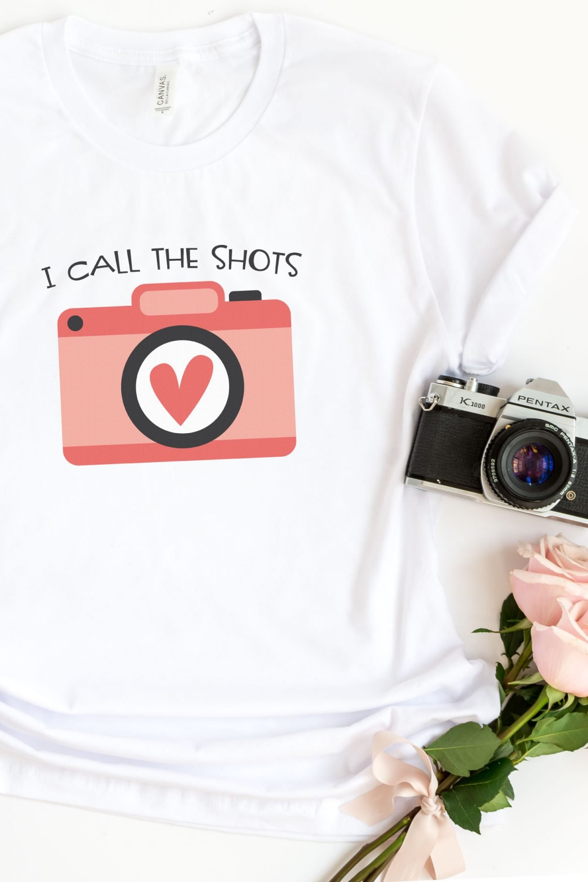 """I Call the Shots"" image on t-shirt with camera"