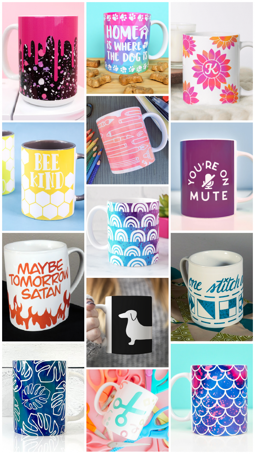 Collage of 13 mug wrap designs