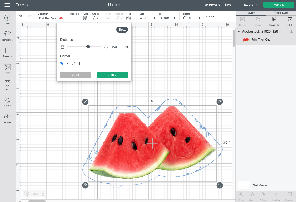 Cricut Design Space: Showing bad offset on photo of two watermelon slices