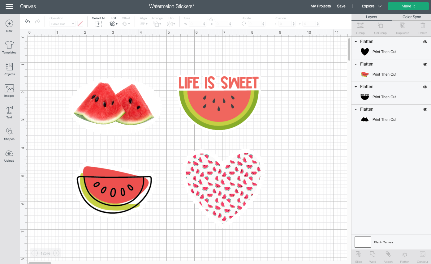 Cricut Design Space: All stickers on a single canvas