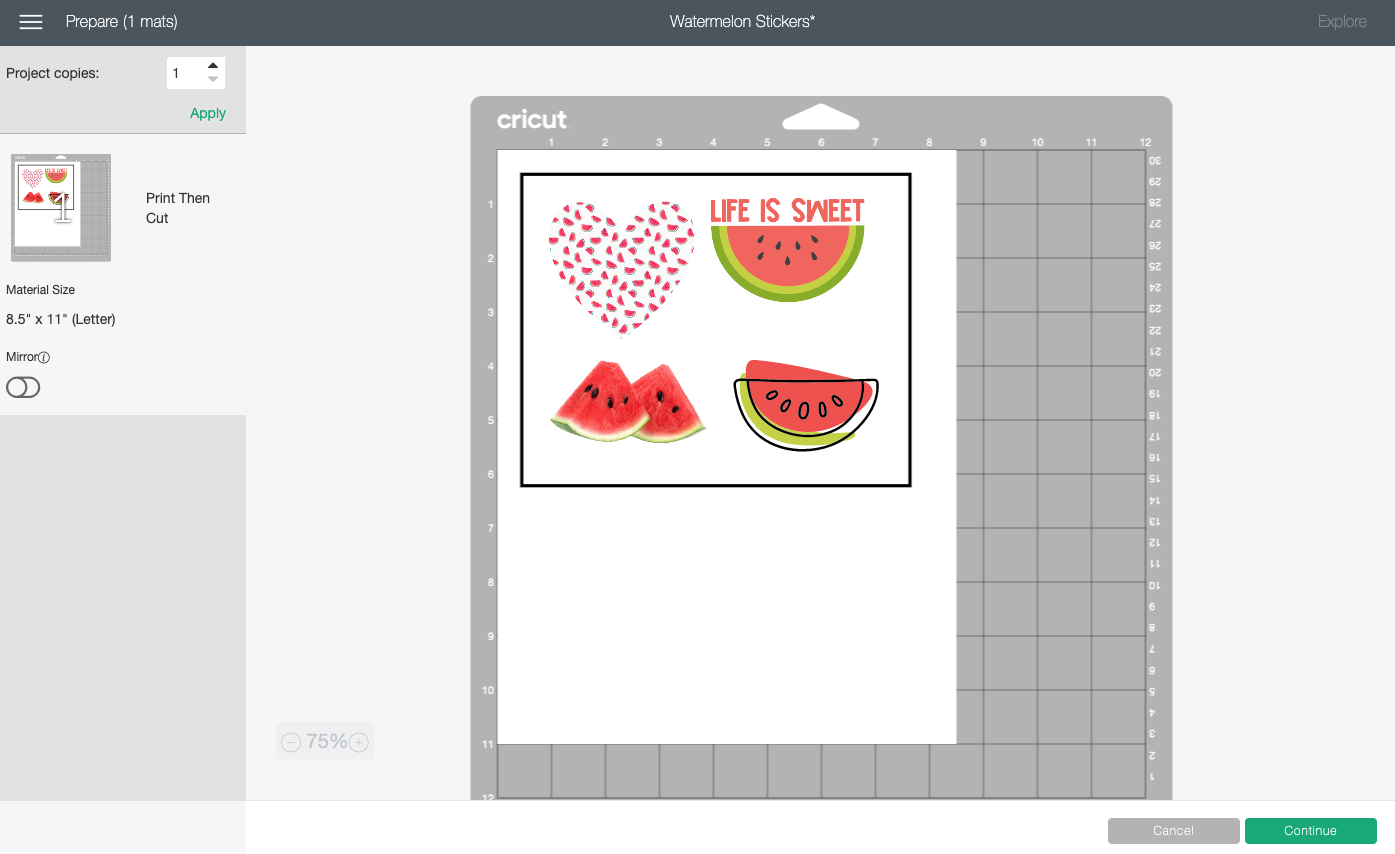 Cricut Design Space: Preview Screen with four stickers and registration outline