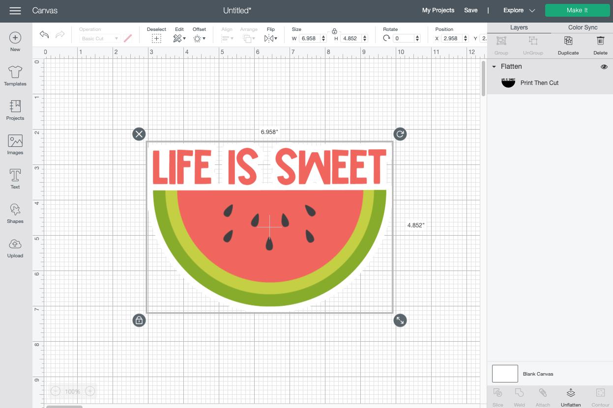 Cricut Design Space: Flatten layers to create a sticker.