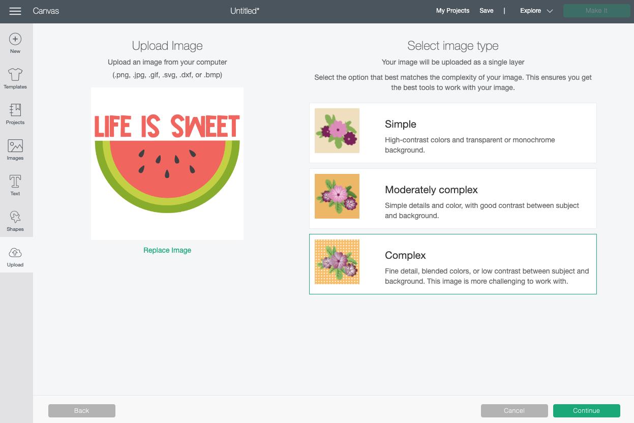 Cricut Design Space: Uploading JPG Screen