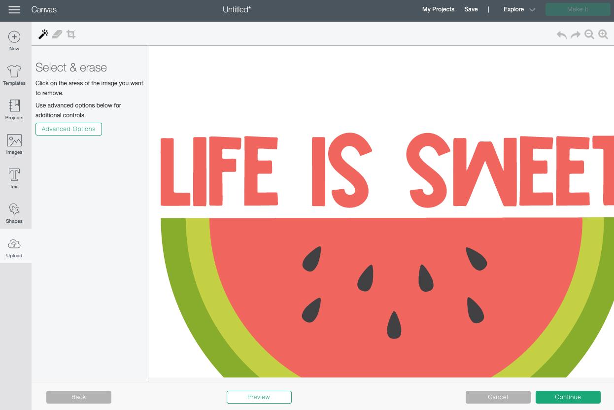 Cricut Design Space: Select and Erase Screen