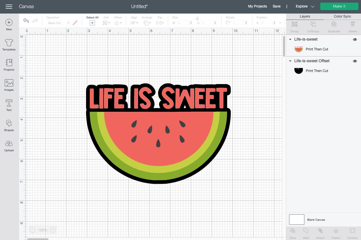 Cricut Design Space: Click Apply to create offset