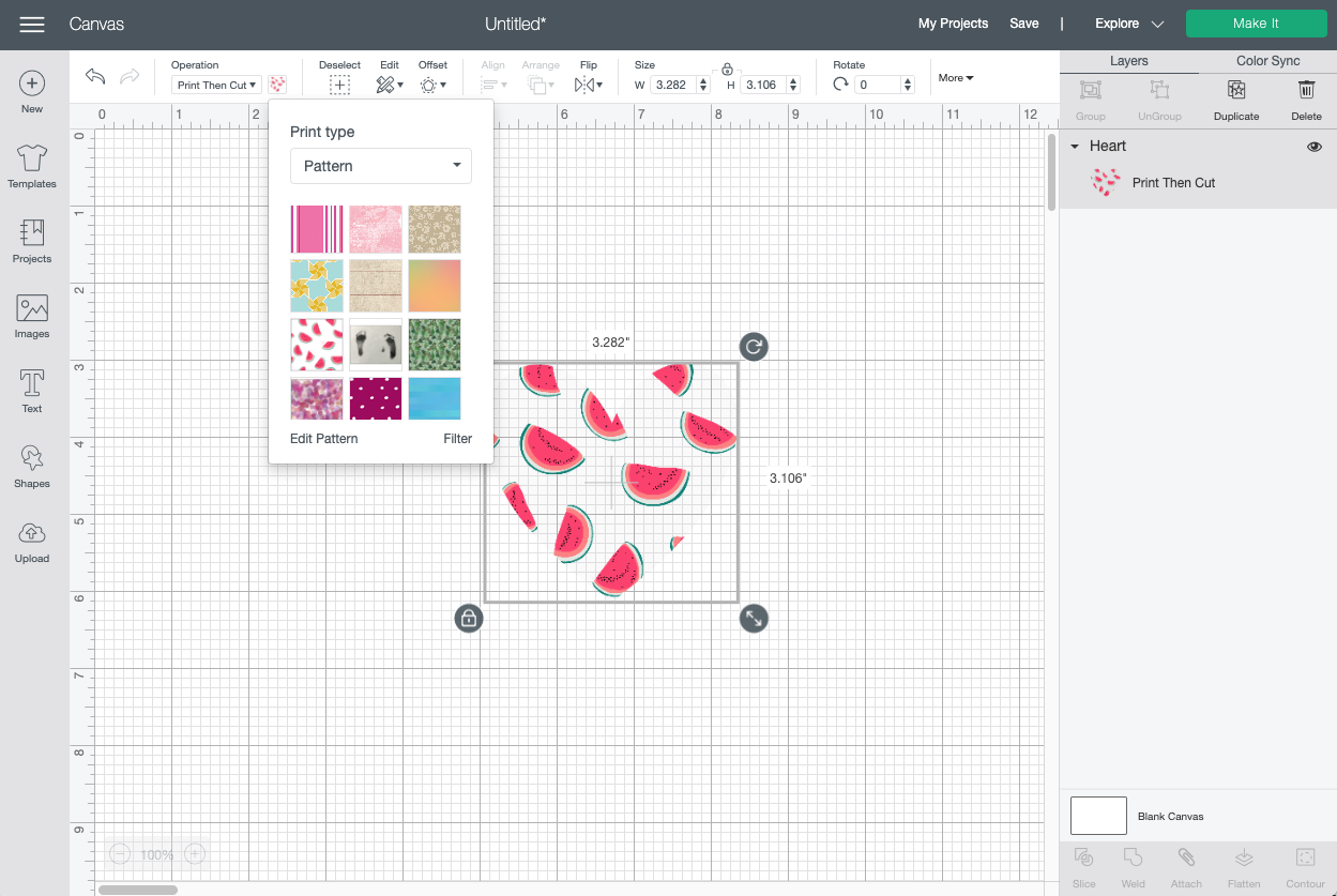 Cricut Design Space: Apply watermelon pattern to heart
