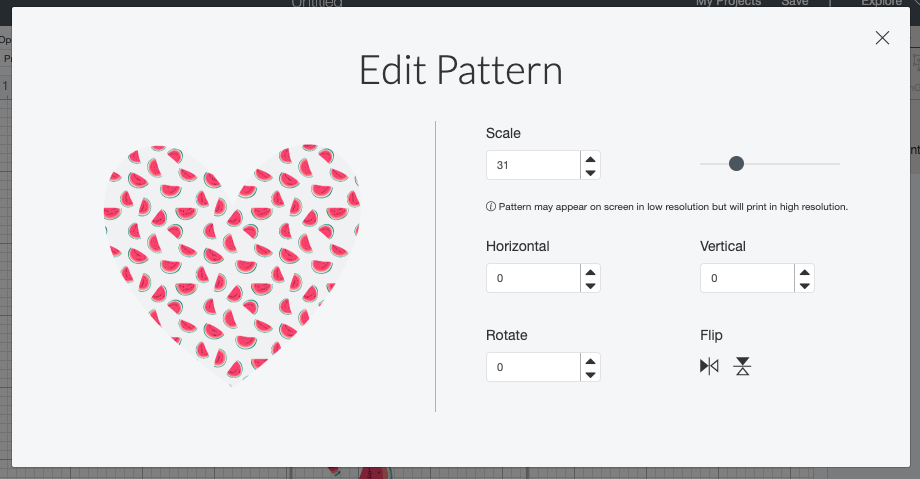 Cricut Design Space: Watermelons at a much smaller pattern on heart