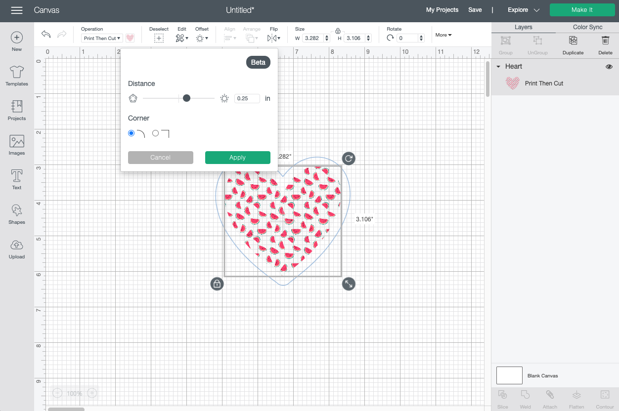 Cricut Design Space: Watermelon heart with offset tool