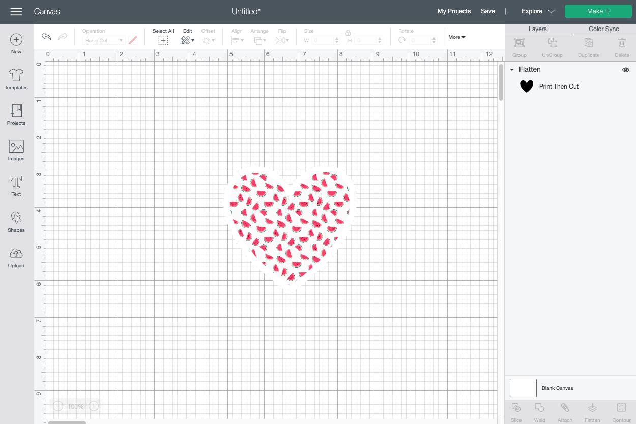 Cricut Design Space: Flattened watermelon heart sticker