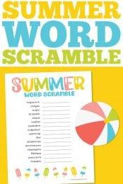Free printable summer word scramble pin image
