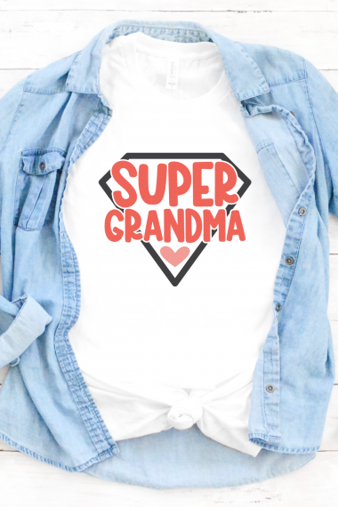 Super grandma SVG on white shirt with chambray button down