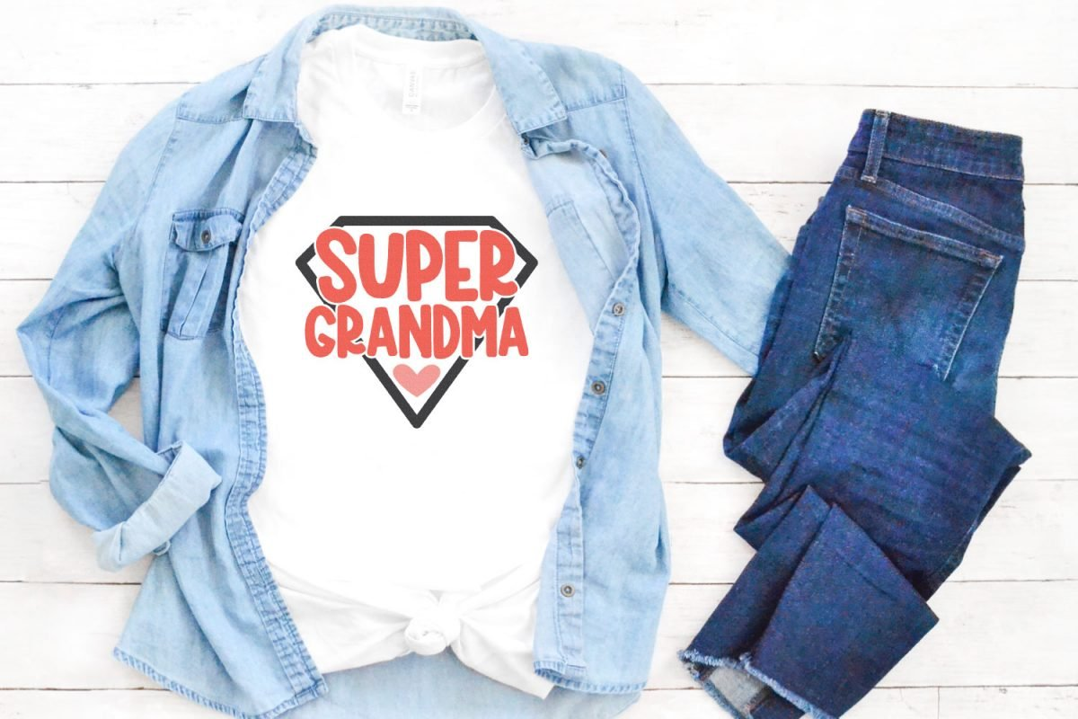 Super grandma SVG on white shirt with chambray button down and jeans